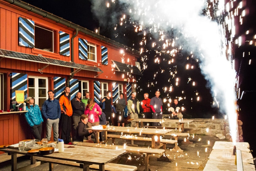 The visitors to the Salbit Hut are treated with a special meal, wine and fireworks for the August 1 Swiss National Day party