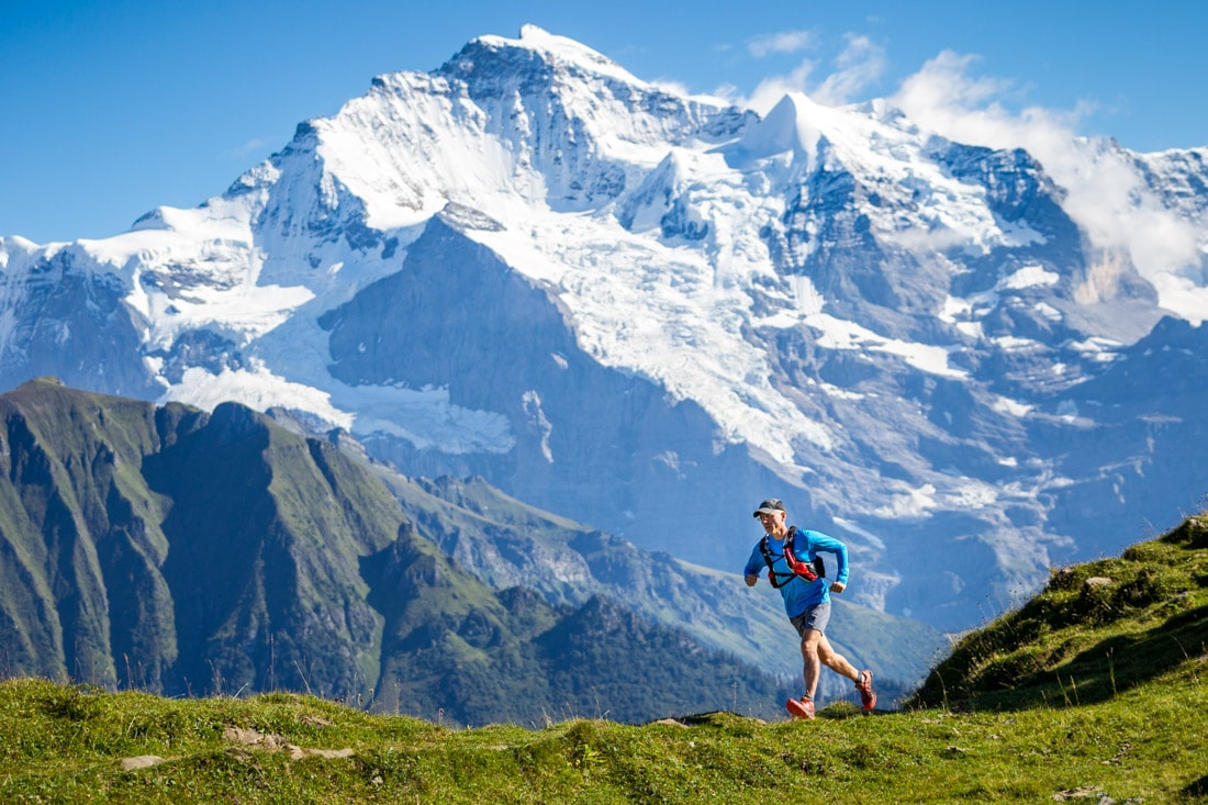 Trail running above Grindelwald, near Interlaken,Switzerland