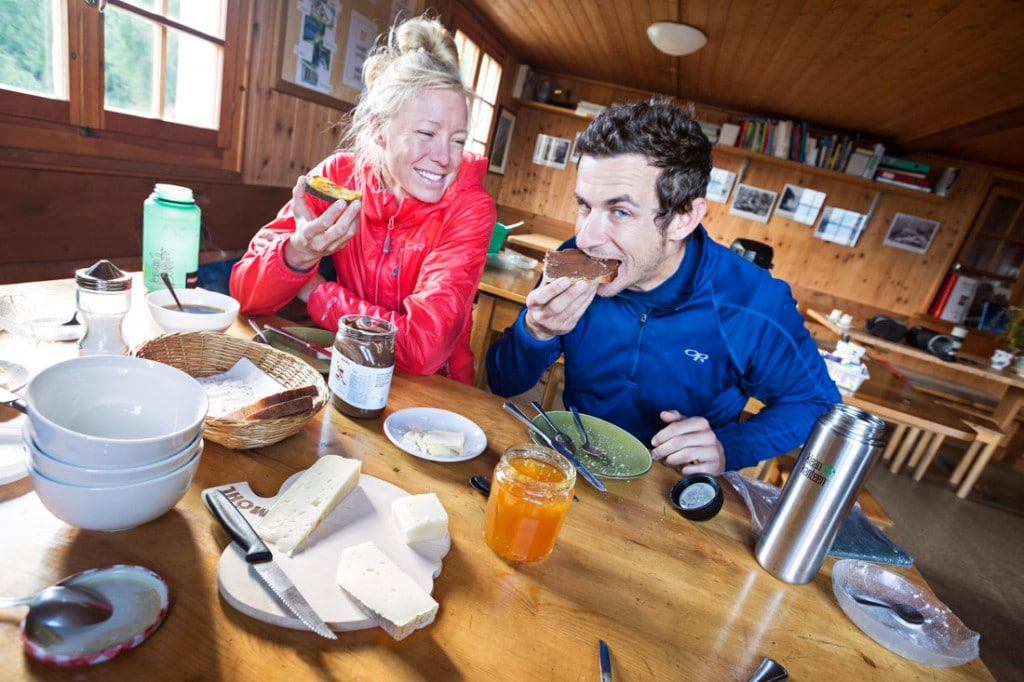 Guests eating in the Sasc Fura Hut dining room, Switzerland