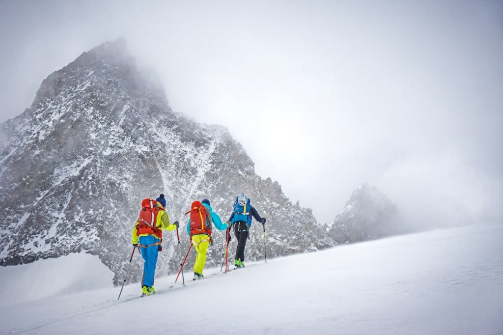 Ski touring on the Wysnollen, a ski peak done during the Berner Oberland ski tour, near the Finsteraarhorn, Switzerland