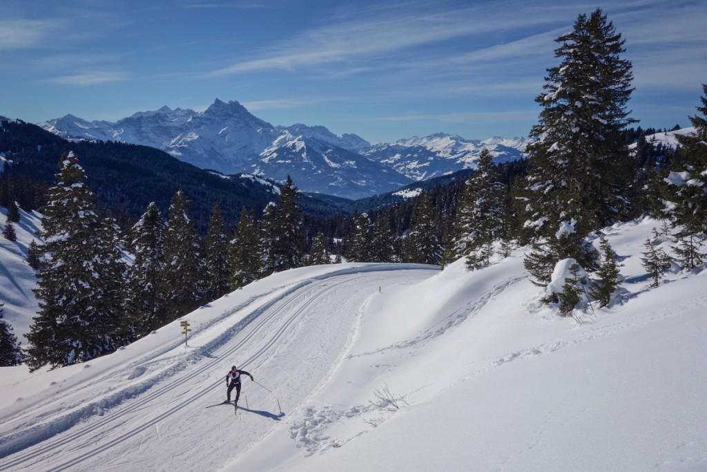 Cross country skiing on the Col de la Croix