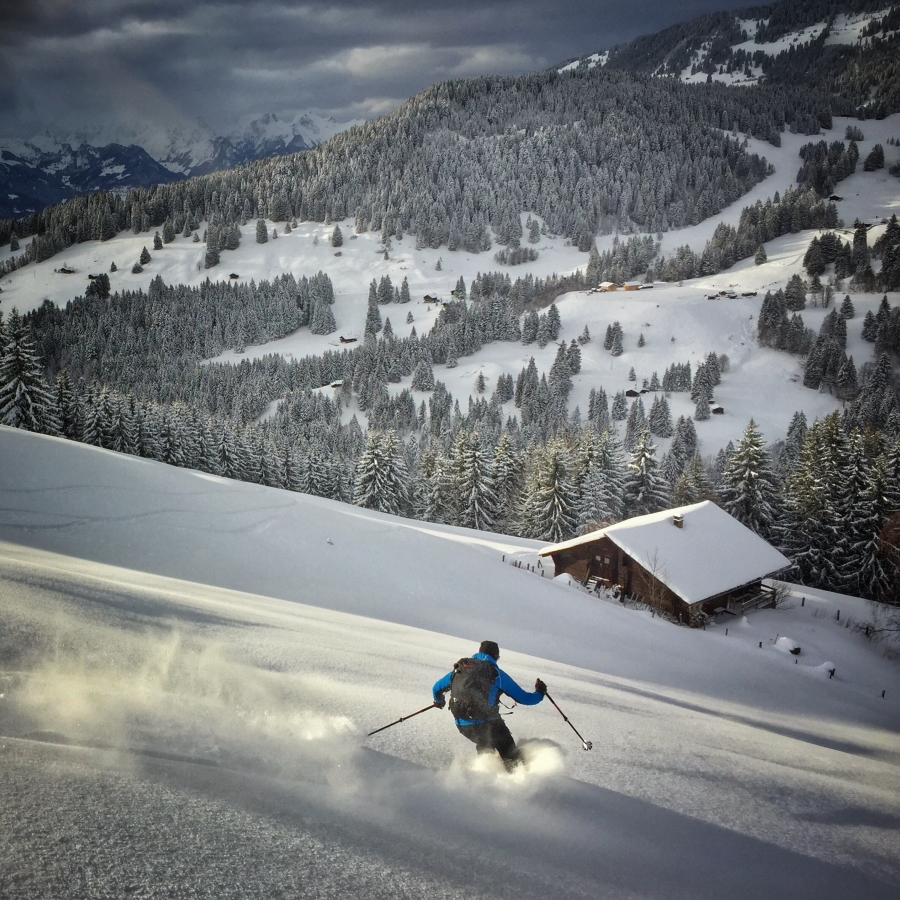 Skiing down from the Croix des Chaux after a snow storm