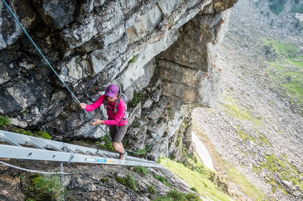 Hiking on ladders in the Swiss Alps