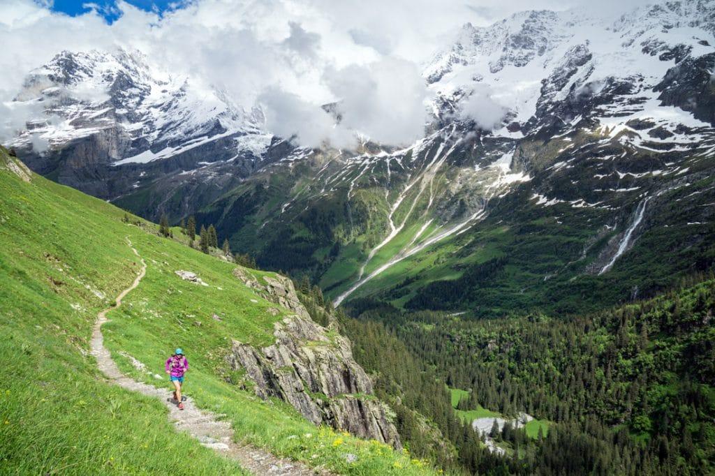 Trail running a long trail of perfect singletrack, Lauterbrunnen, Switzerland