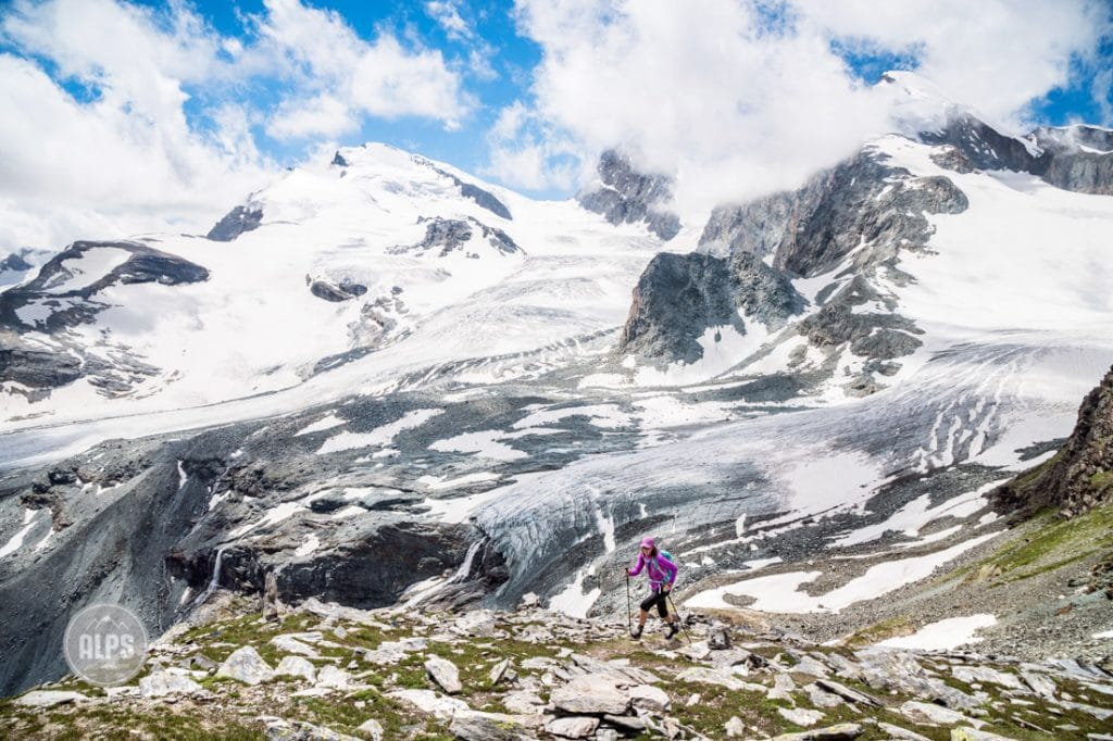Hiking the Glacier Trail out of Saas Fee, Switzerland. The trail connects Saas Fee with the Mattmark Lake and crosses two glaciers, but is possible without a rope and as a walking trail.