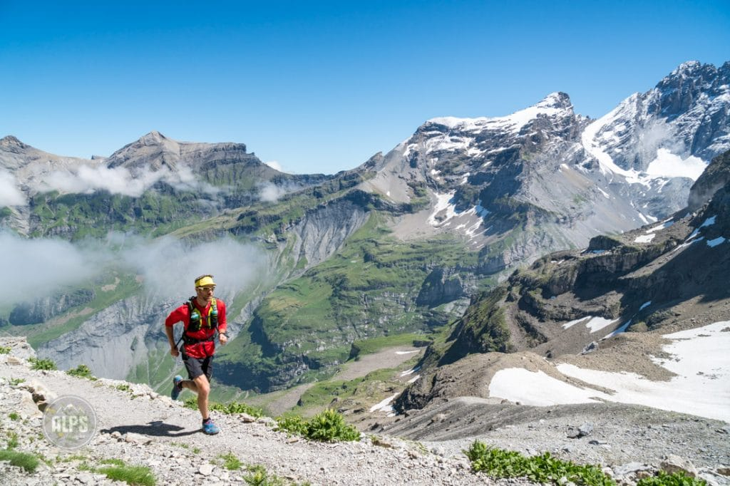 Trail running the Lauterbrunnen to Kandersteg tour, Switzerland.