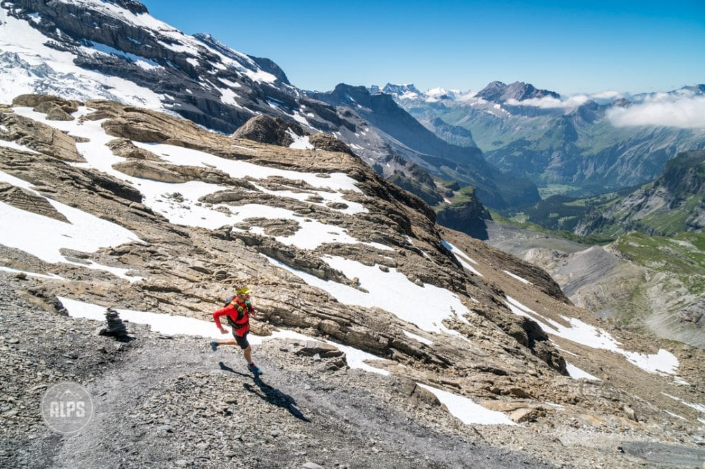 Trail running the Lauterbrunnen to Kandersteg tour, Switzerland. Beginning the descent to Kandersteg.