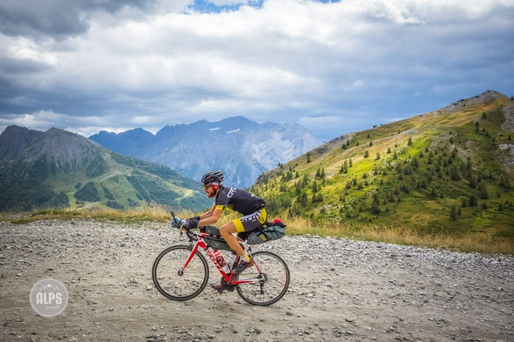 Alain Rumpf on the Strada dell'Assietta during the 2015 Transcontinental Bike Race