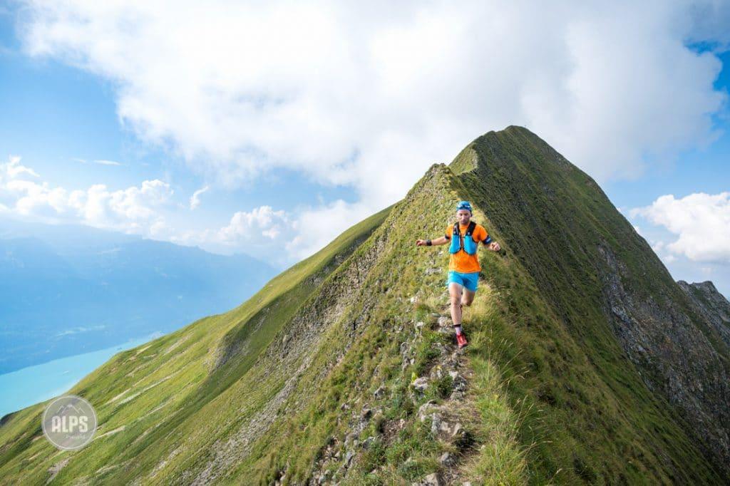 Trail running the Hardergrat, a long ridge connecting Interlaken to Brienz, Switzerland