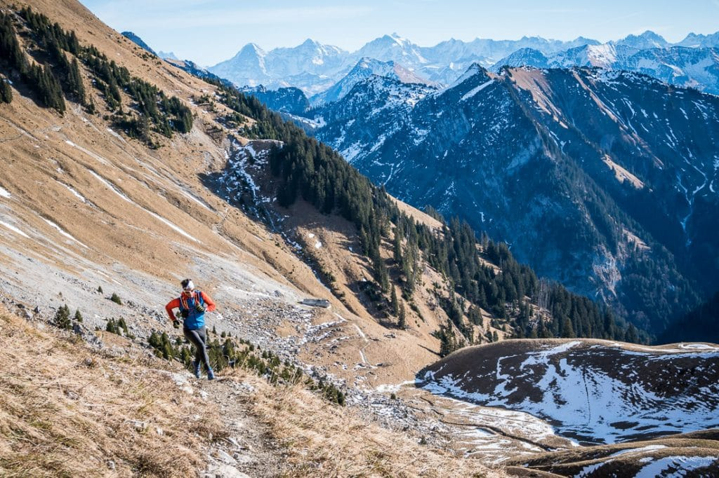Trail running in the Gantrisch area of the Swiss Alps.