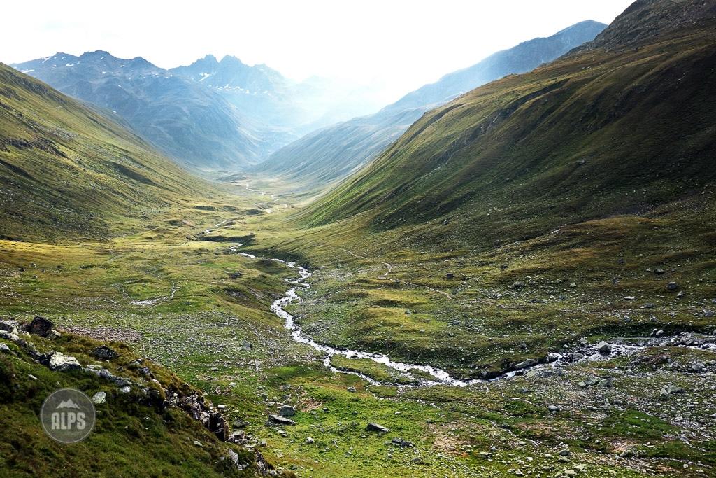 The wide open, green landscape of Val Funtauna above Davos, Switzerland