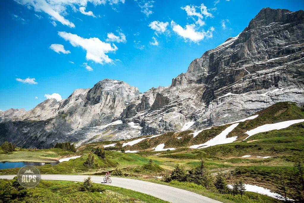 One person road biking on the Grosse Scheidegg Pass above Grindelwald, Switzerland