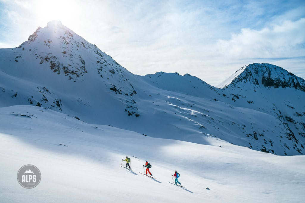 A ski tour through the Pirin Mountains of Bulgaria. A group ski touring from the Tevno Ezero Hut headed for the Demianica Hut.