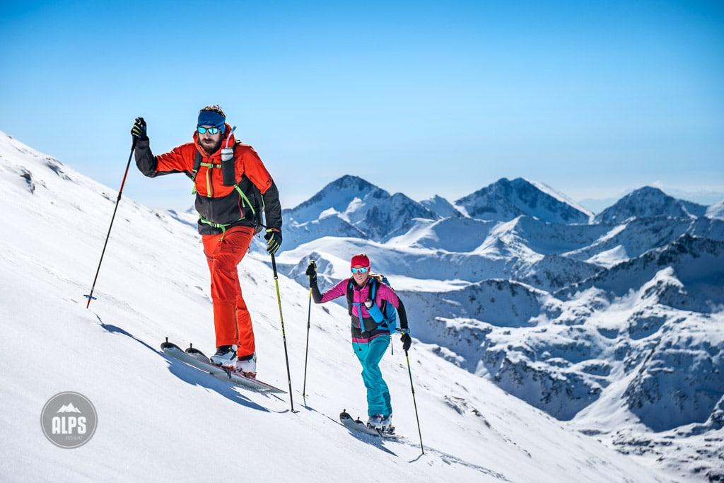 A ski tour through the Pirin Mountains of Bulgaria. Ski touring on Vihren, the Pirin Mountains highest peak at 2914 meters.