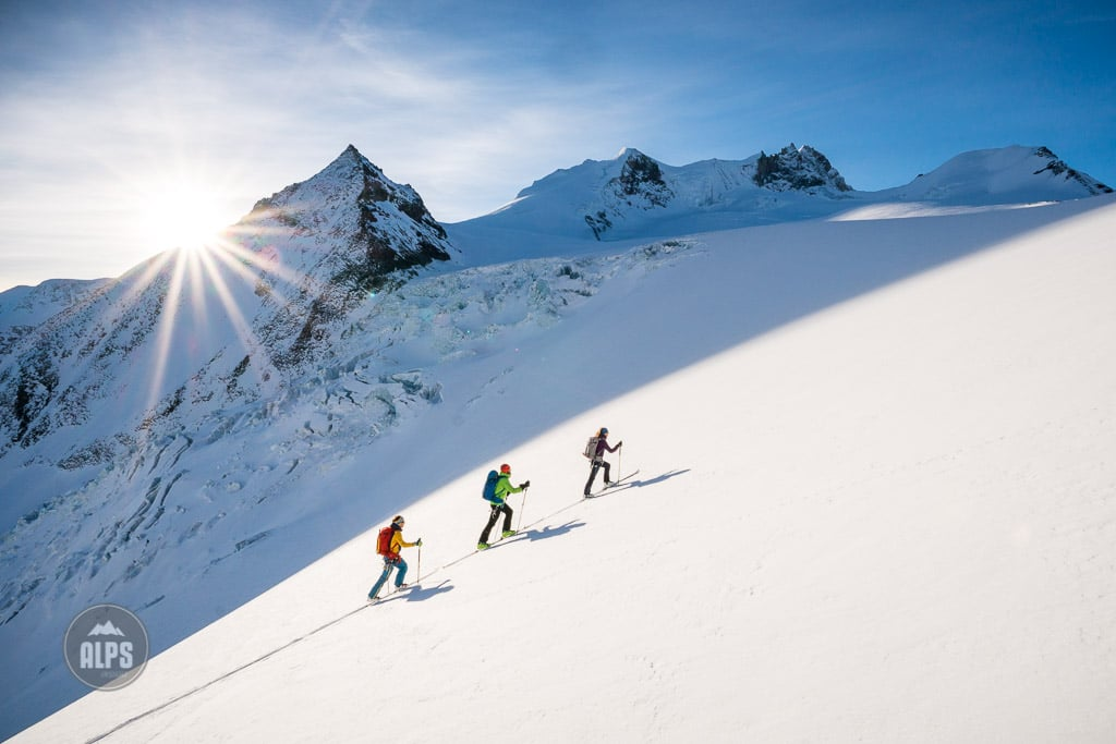 Ski touring on the Bishorn, 4153 meters, one of the easiest 4000 meter peaks in the Alps, but very long. Switzerland.