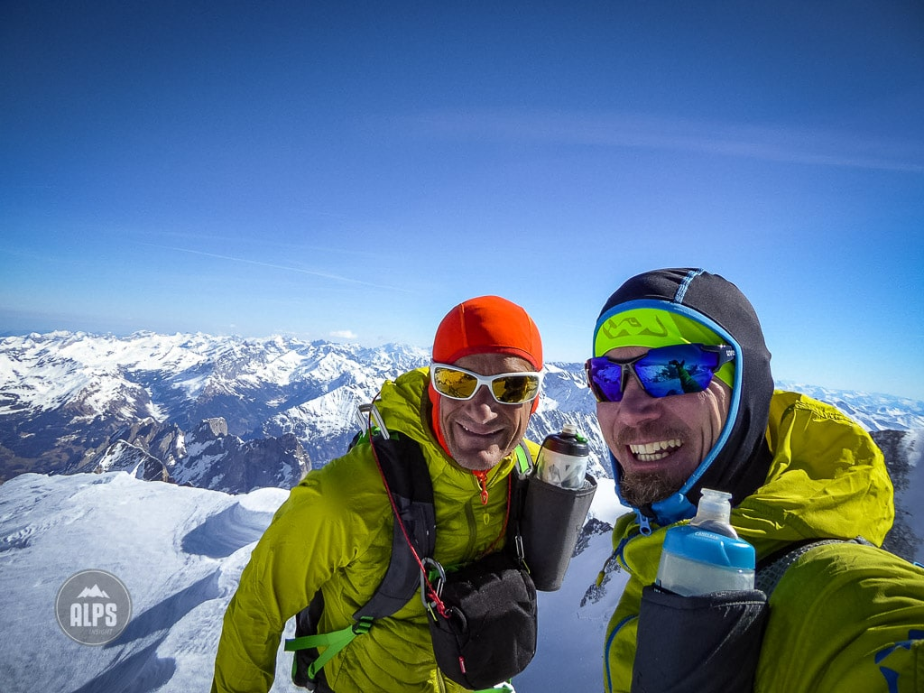 Christoph Moser and Dan Patitucci on the summit of the Wetterhorn