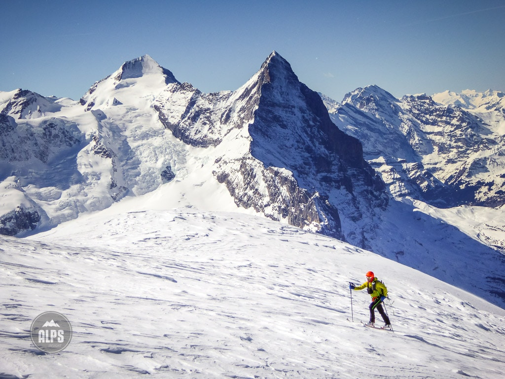 Dan Patitucci ski touring in the Jungfrau Region with the Eiger in the background
