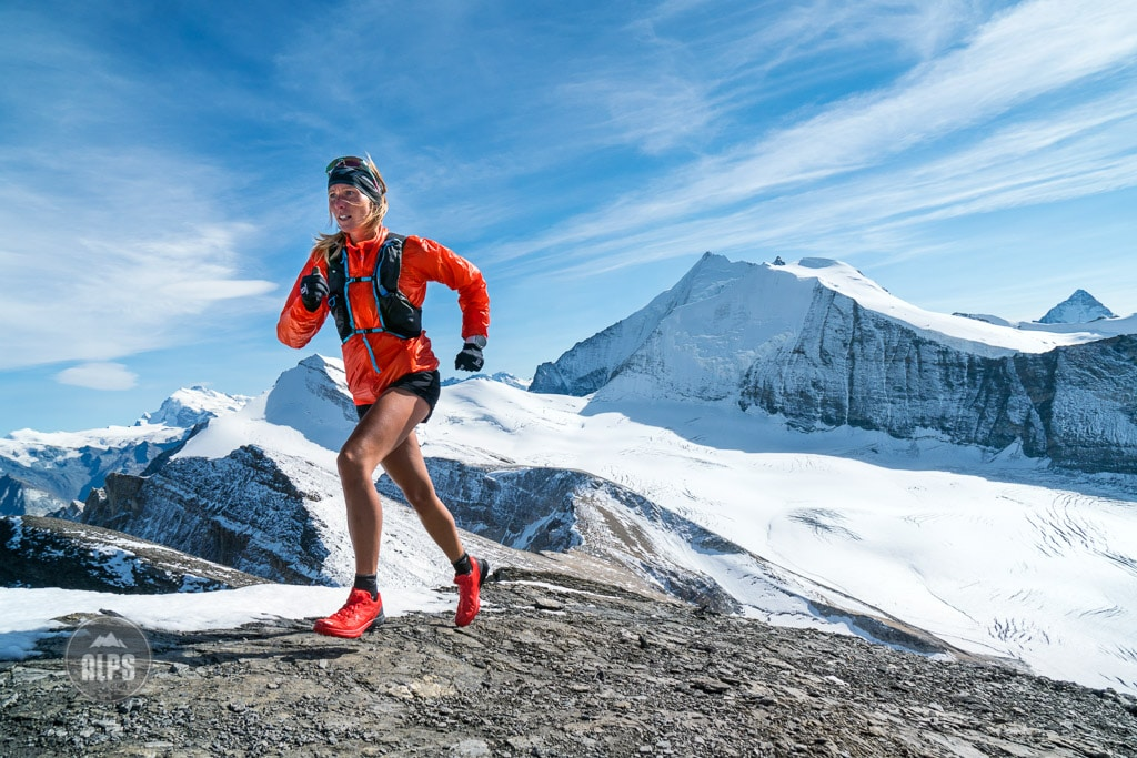 Kim Strom Trail running in the Turtmenntal while on a running tour to the Barrhorn, a 3610 meter peak that is the highest point in the Alps with an official trail to the top. Switzerland.