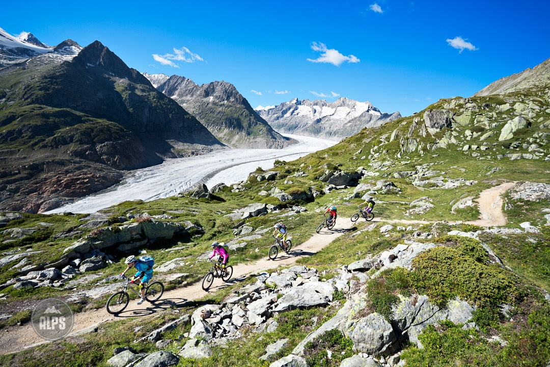 Mountain biking above the Aletschgletscher from Bettmeralp to Riederalp during the Swiss CrissCross project. Road ride through the Alps across Switzerland, then mountain bike back through the Alps on trails. 2012