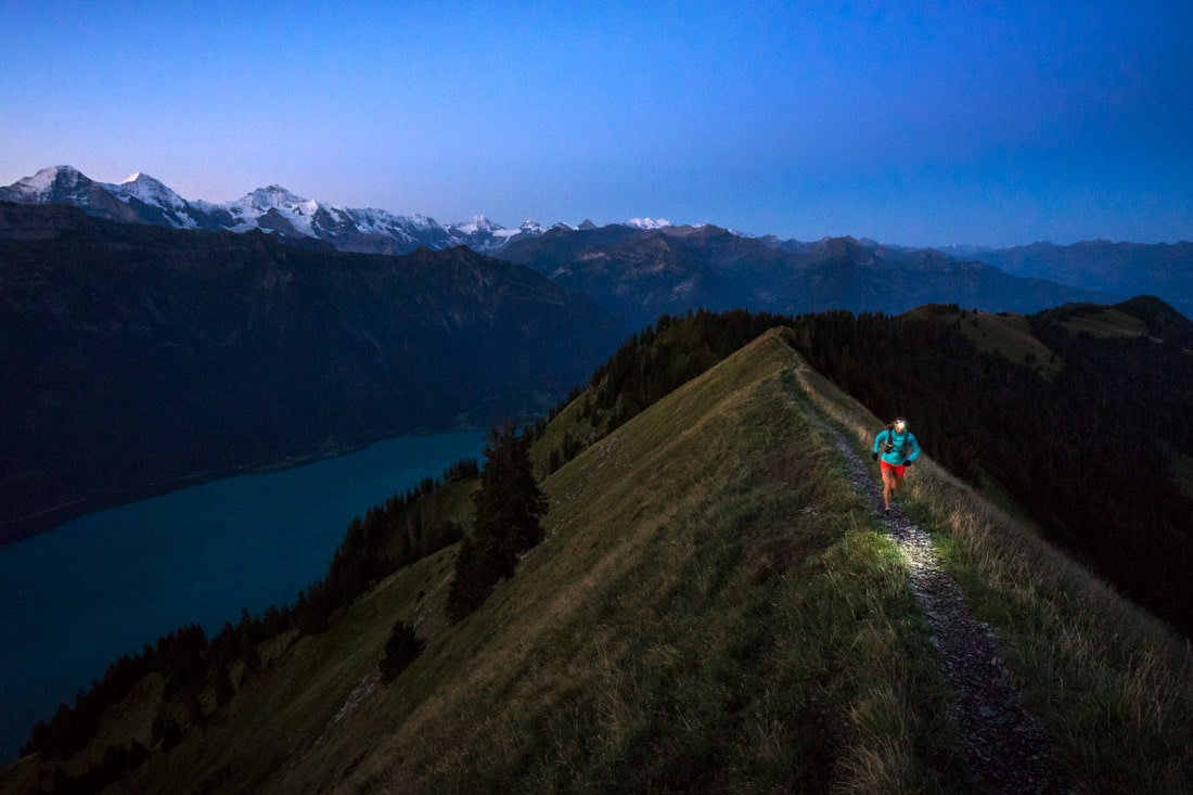 An early start is necessary from Interlaken for many reasons; You'll never forget watching the sunrise on the Jungfrau group, cooler temps for the monster climb (less water needed), and to insure enough time to make the last train to Brienz.