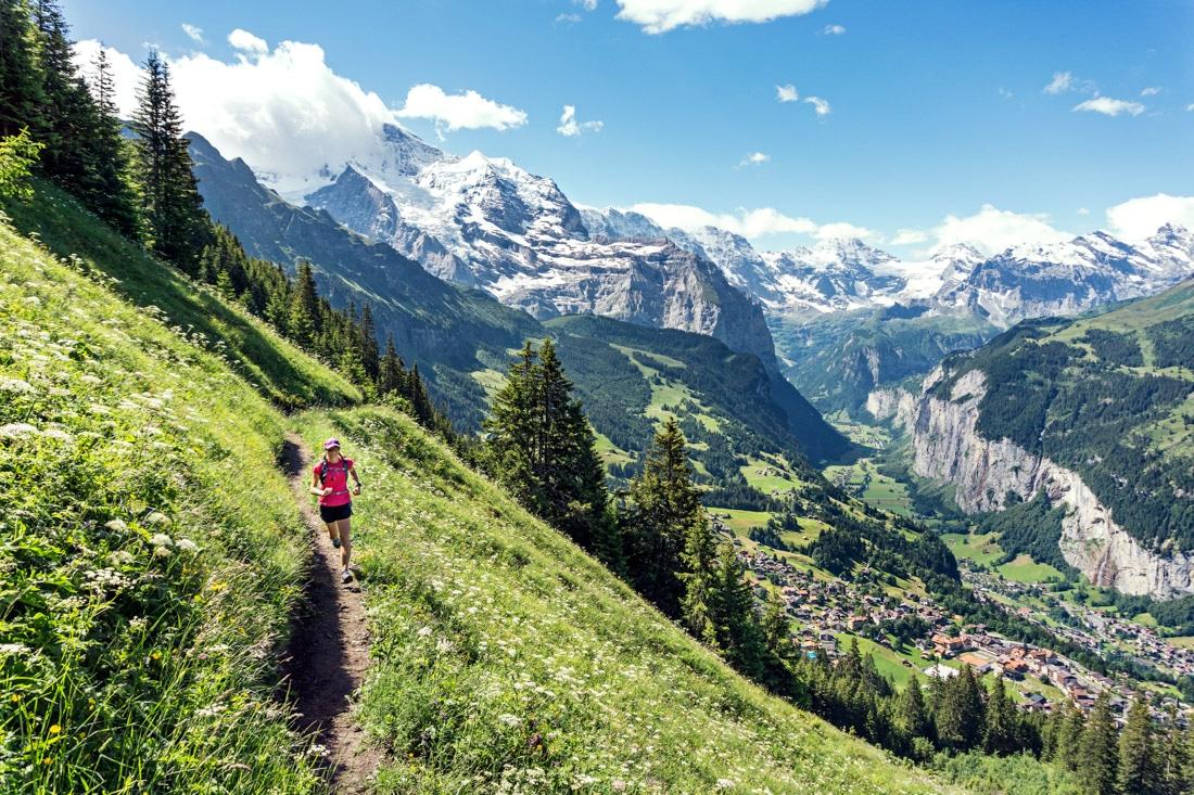 Leaving the village of Wengen (below) for Mannlichen while far below is Lauterbrunnen Valley.