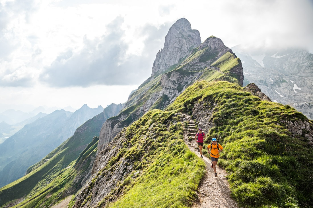 Trail running in the Alpstein group in Eastern Switzerland, a small, separate from the Alps mountain range ideal for mountain running thanks to less rugged, lower terrain.