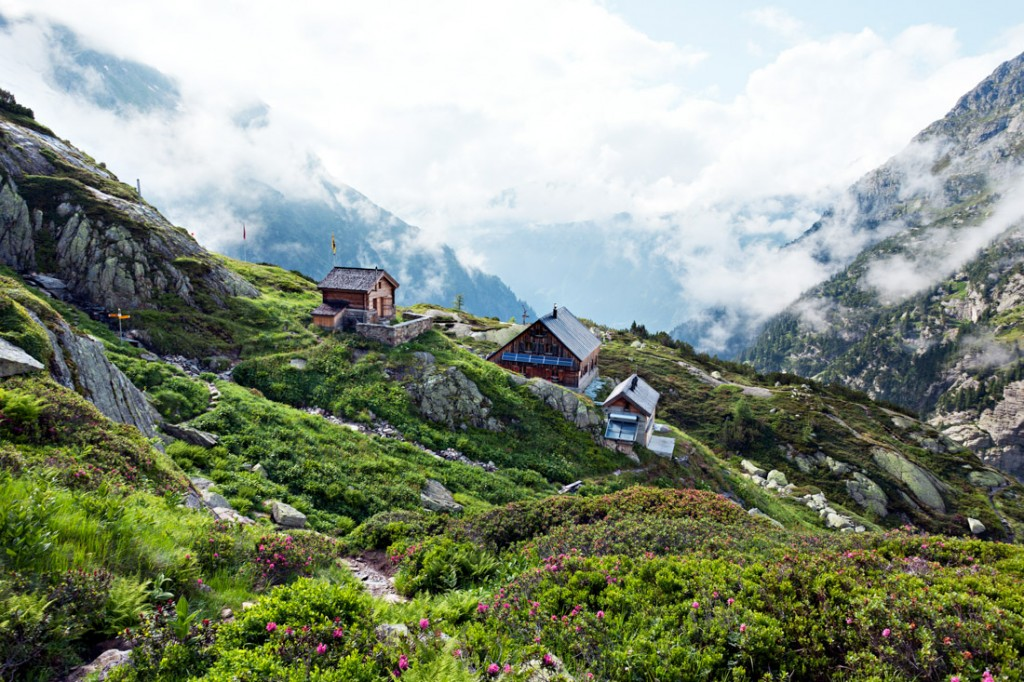 The Windegghütte near the Trift Bridge in Switzerland's Bernese Alps