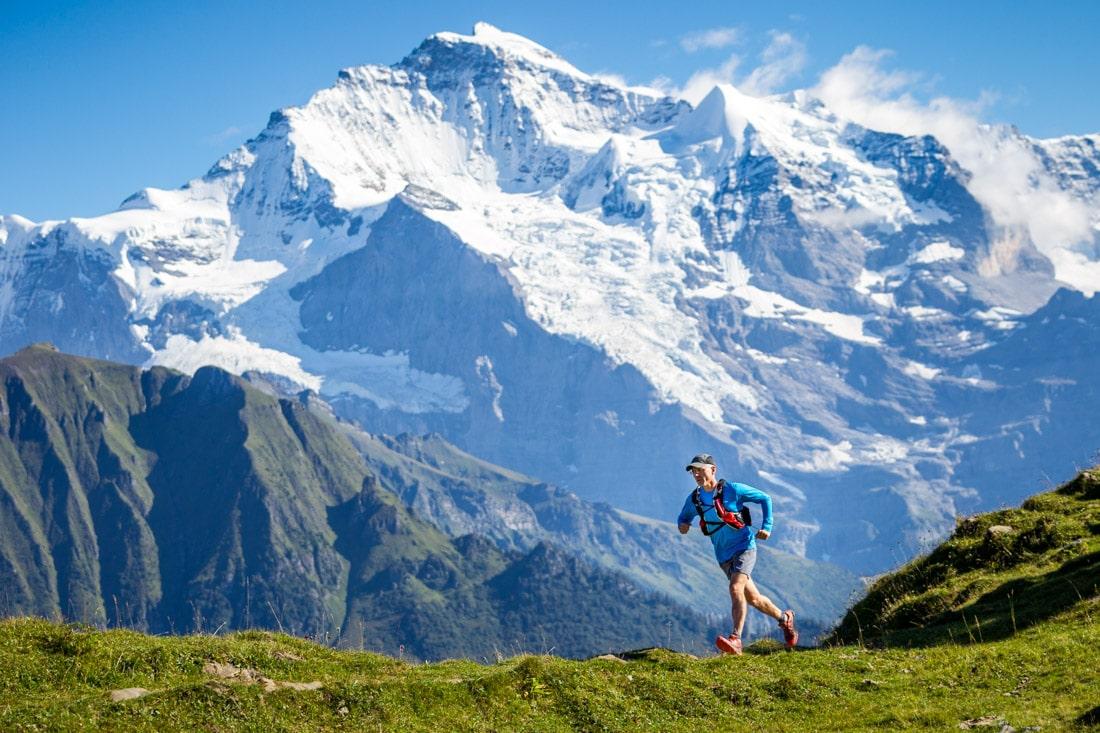 Trail running above Grindelwald, near Interlaken,Switzerland