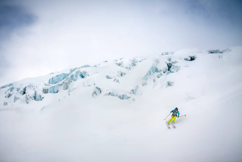 Skiing amongst crevasses on the Ewigschneefald during a ski tour of the Berner Oberland, Switzerland