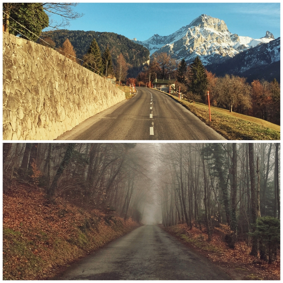 Winter training for cyclists in the Alps: cold and humid below the clouds, dry and sunny above
