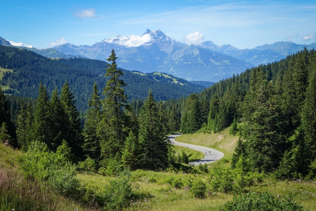 Summer cycling: near the top of the Col de la Croix, with the Dents du Midi in the background