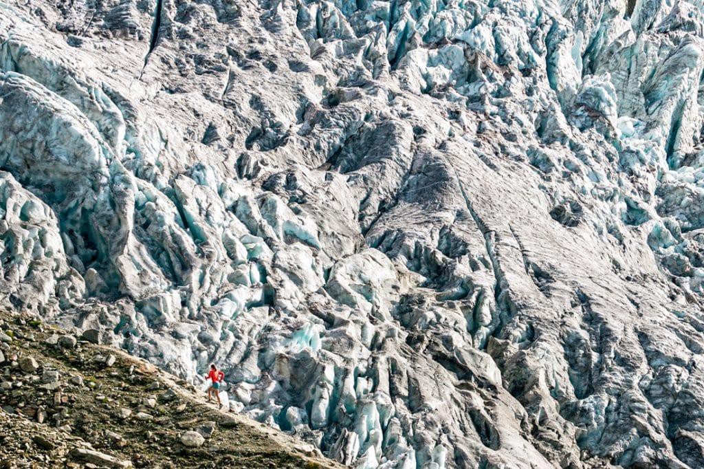 Trail running outside Chamonix from Le Tour alongside the Glacier du Tour