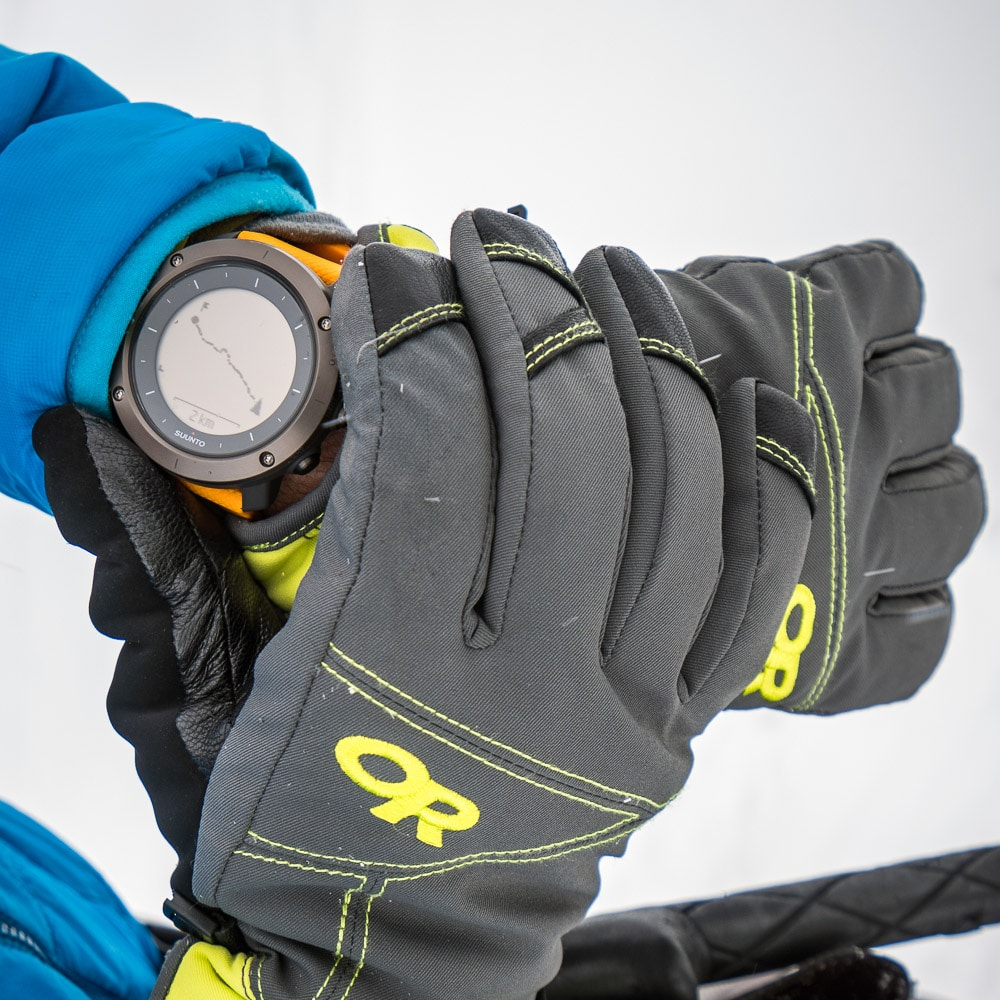 Using a GPS watch for navigation in whiteout conditions during a ski tour of the Berner Oberland, Switzerland.