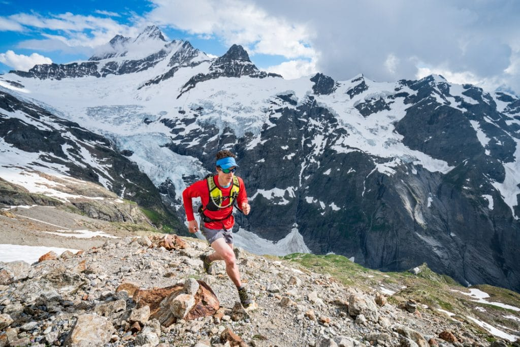 Trail running in the Swiss Alps above Grindelwald, Switzerland