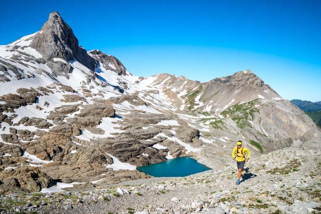 Trail running on the Wildstrubel, a 3244 meter peak in the Swiss Alps above Lenk, Switzerland