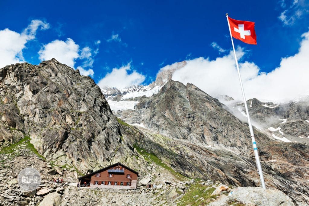 The Shreckhorn Hut, with the 4000 meter Shreckhorn behind in Switzerland's Berner Oberland