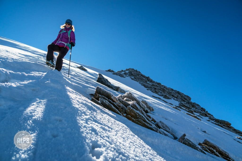 Descending the 4010 meter Lagginhorn, Saas Grund, Switzerland