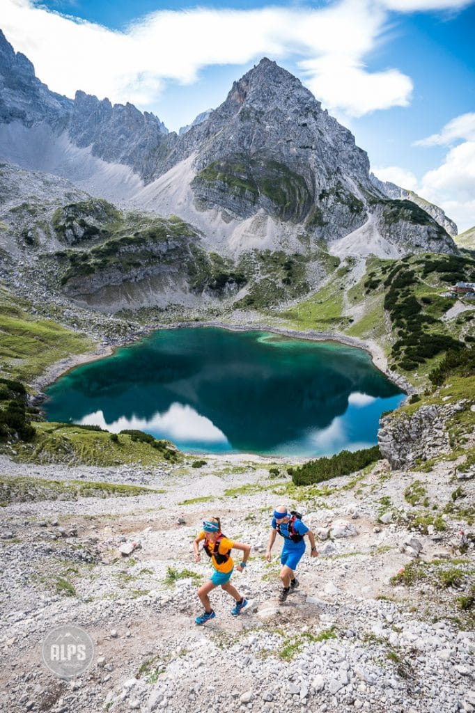 Trail running above Garmisch in the Zugspitze area, Germany