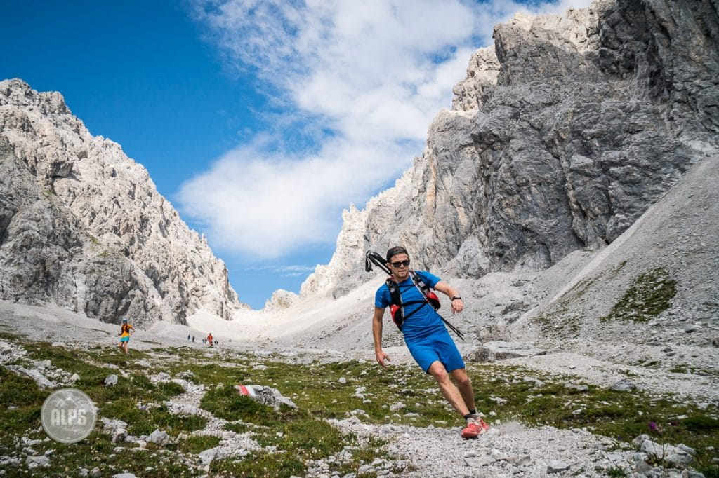 A group of trail runners doing a selfie in the Zugspitze area of Germany.