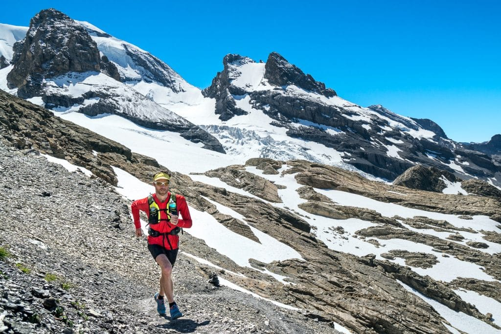 Trail running the Lauterbrunnen to Kandersteg tour, Switzerland.
