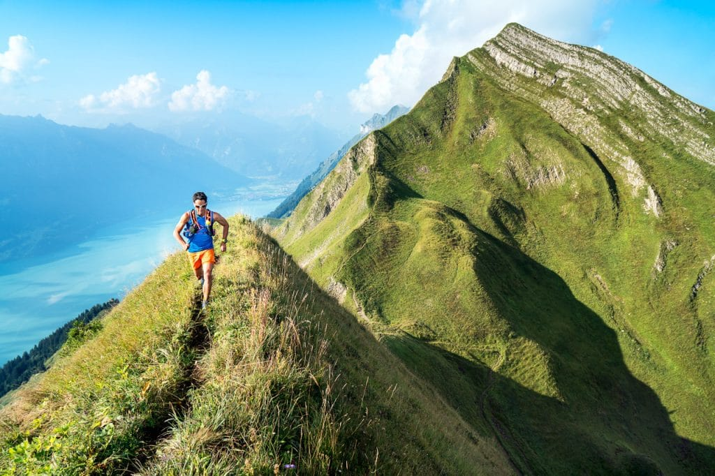 Trail running the Hardergrat, a long ridge connecting Interlaken to Brienz, Switzerland