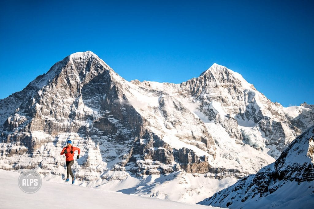 Winter trail running, Grindelwald, Switzerland
