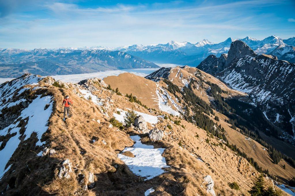 Trail running in the Gantrisch area of the Swiss Alps