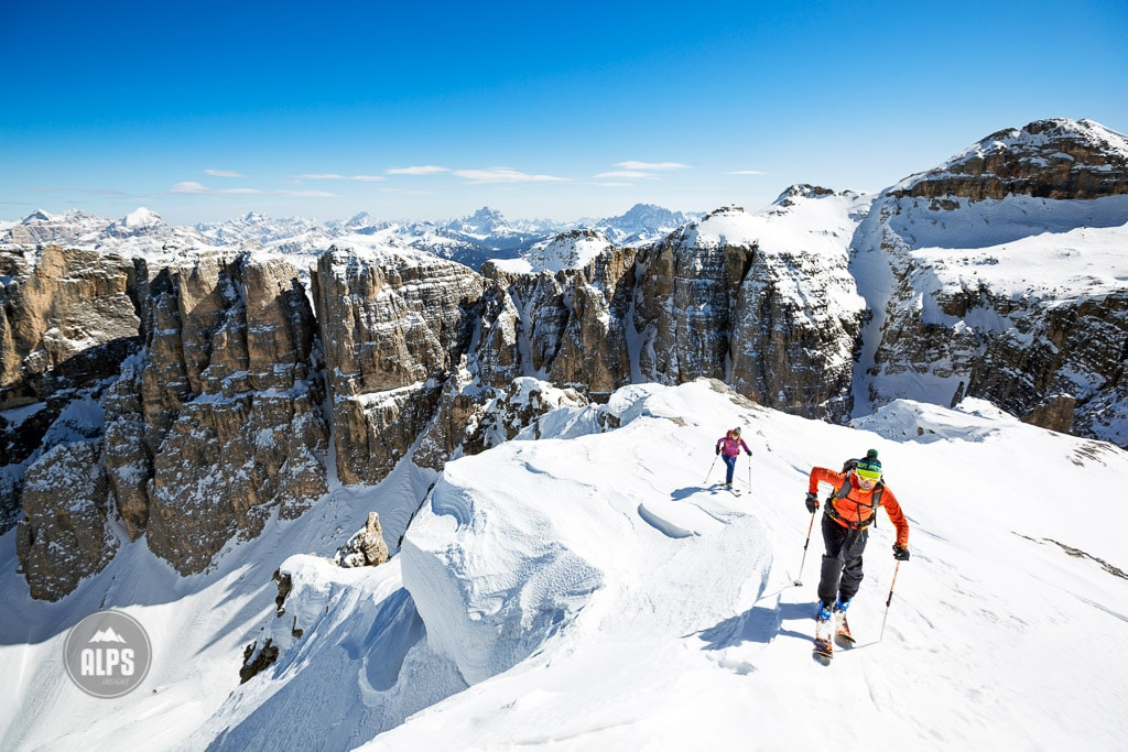 Skiing the Italian Dolomites couloirs of the Sella Group