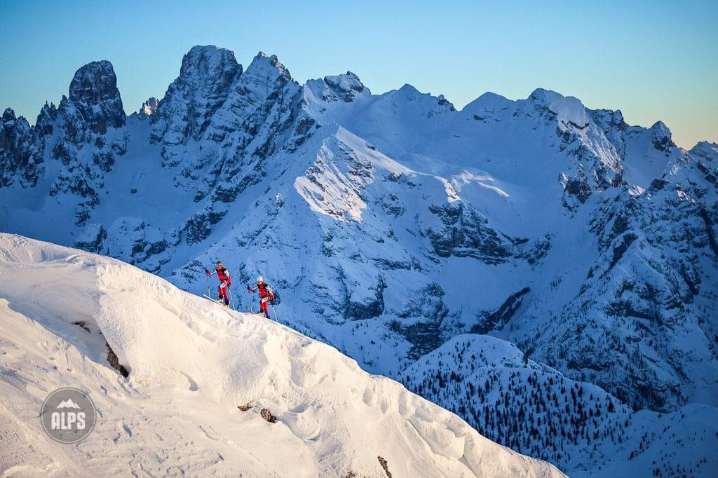 Ski randonee racers training in the Italian Dolomites