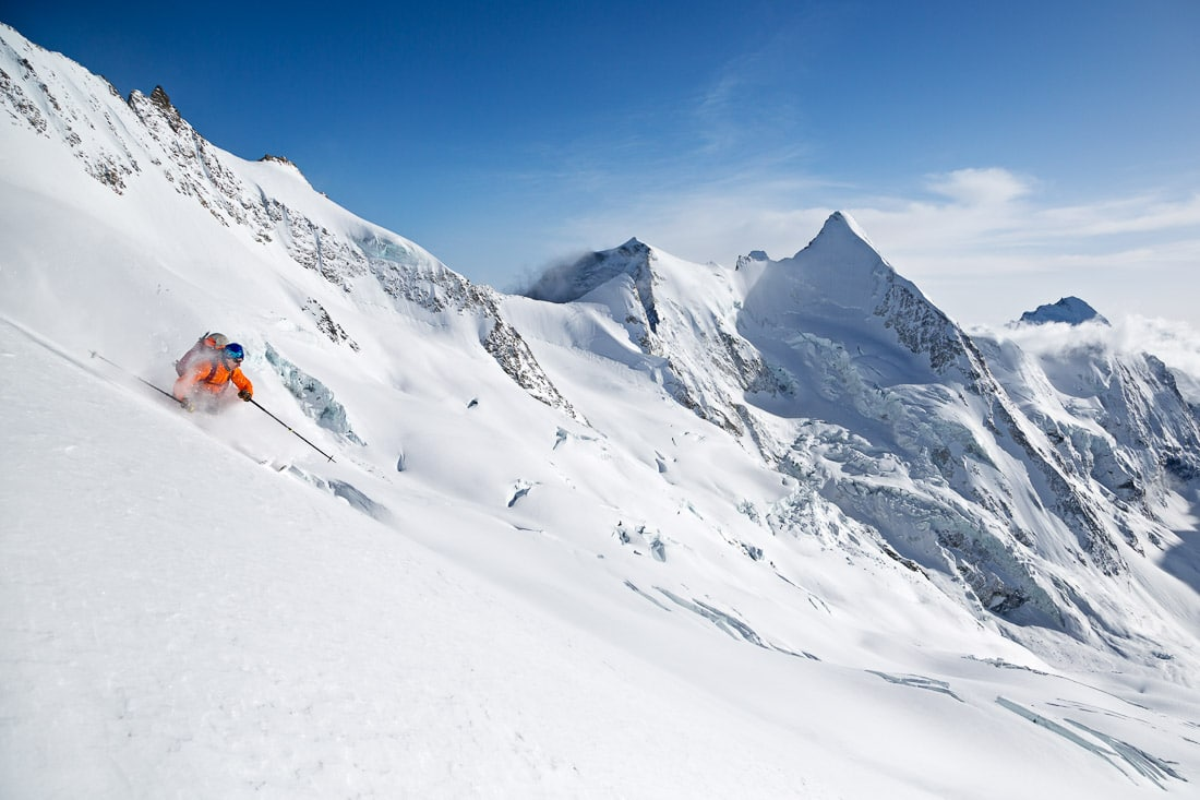 Backcountry skiing the Glacier du Mountet
