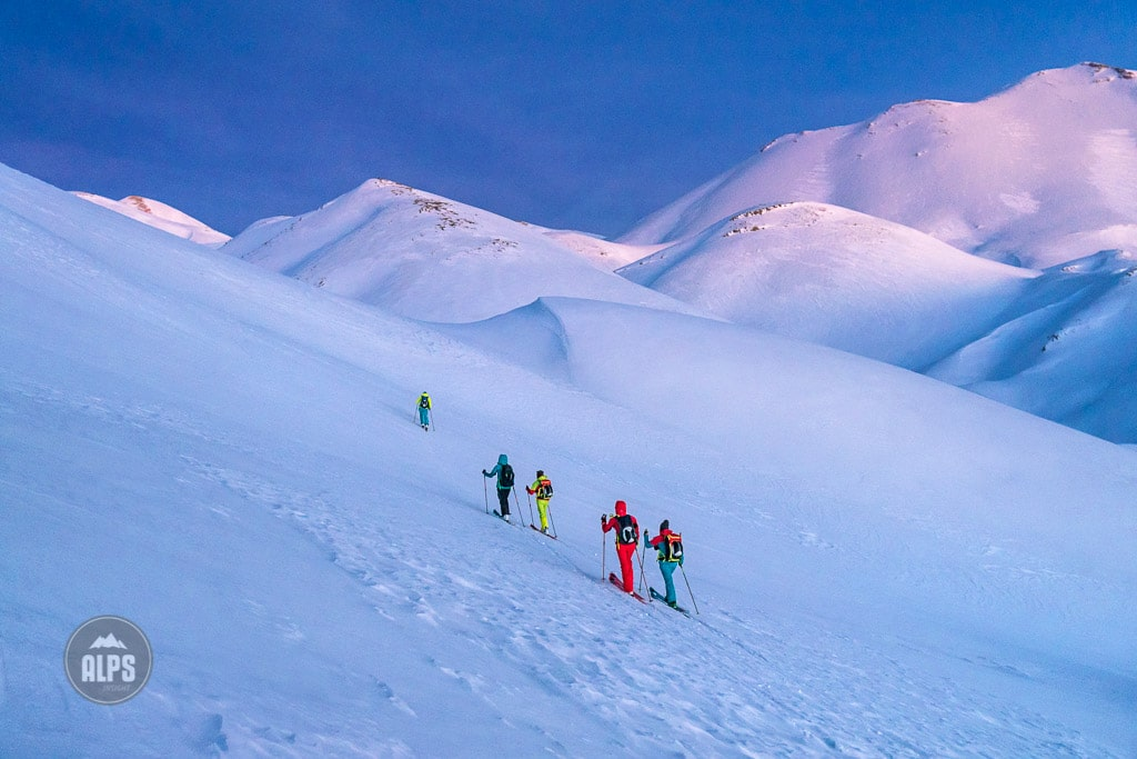 In the winter of 2017, five women traveled to the Greek Island of Crete to do a ski tour in the White Mountains. Ski touring at twilight to reach the Katsivelli Refuge bivouac hut.