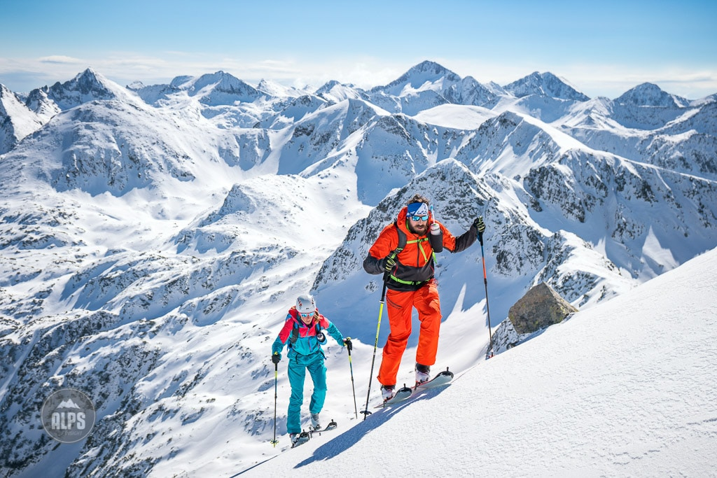 A ski tour through the Pirin Mountains of Bulgaria. Ski touring to the Vihren Hut.