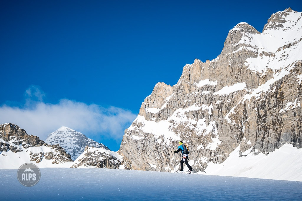 Ski touring approach of the Wetterhorn, on the Rosenlauigletscher, during a tour of the Wetterhorn, Mittelhorn and Rosenhorn in the Bernese Alps, Switzerland