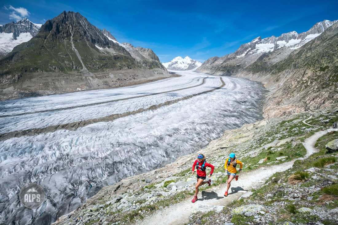 Running beside the Aletschgletscher.